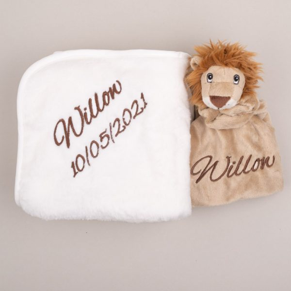 Baby's Lion comforter & white fleece blanket both embroidered, in brown, with the name Willow & date of birth