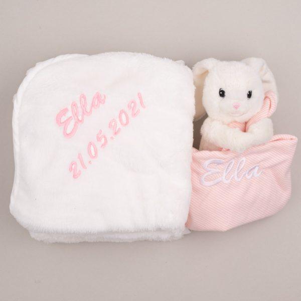 White Bunny Baby Comforter & Fleece Blanket baby's gift set personalised with the baby name Ella