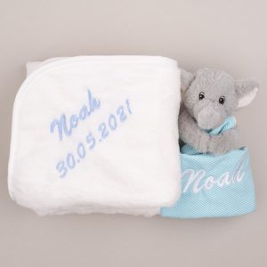 Grey Elephant Baby Comforter & Fleece Blanket baby's gift set personalised in light blue with the name Kenzo & date of birth