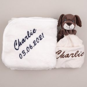 Puppy Baby Comforter & Fleece Blanket baby's gift set personalised with the name Charlie