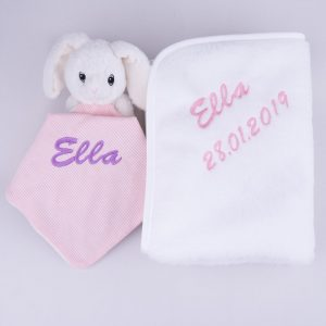 White Bunny Baby Comforter & Fleece Blanket baby's gift set personalised with the baby name Ella