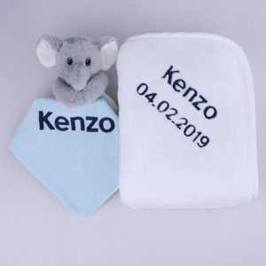 Grey Elephant Baby Comforter & Fleece Blanket baby's gift set personalised in navy blue with the name Kenzo & date of birth