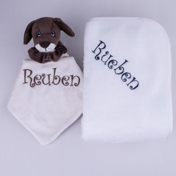 Puppy Baby Comforter & Fleece Blanket baby's gift set personalised with the name Rueben