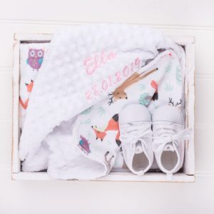 Personalised Forest Minky Blanket & White Baby Shoes personalised with the name Ella