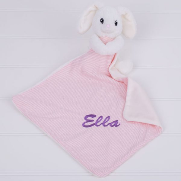 White & Pink Bunny baby comforter personalised with the name Ella