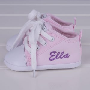Pink baby shoes for girls personalised with the name Ella