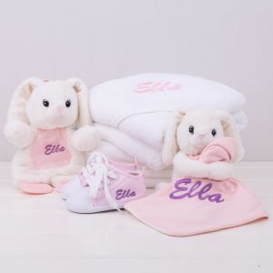 5 piece White Bunny Baby Gift Set personalised with the name Ella