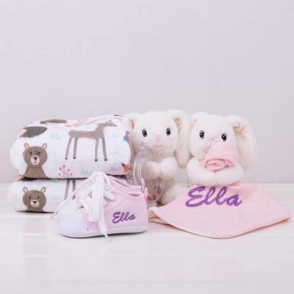 4 piece White Bunny & Forest Minky Gift Set personalised with the name Ella