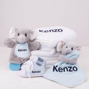 5 piece Elephant Baby Gift Set personalised with the name Kenzo