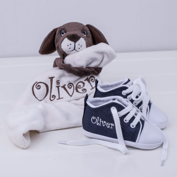 Puppy Comforter & Navy Blue Shoes Baby Gift Box