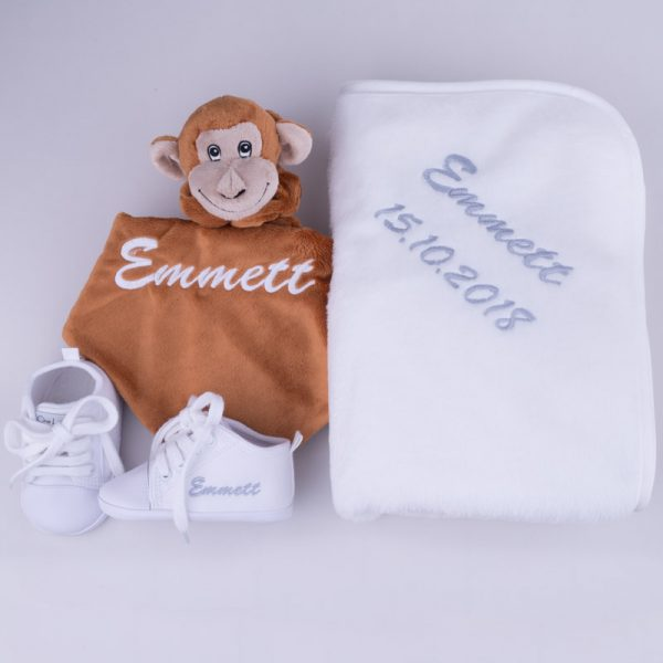 Monkey Comforter, White Shoes & Fleece blanket Baby Gift Set personalised with the name Emmett