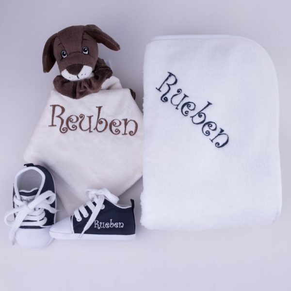 Puppy Comforter, Navy Blue Shoes & Fleece Blanket Baby Gift Set personalised with the name Rueben