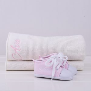White knitted blanket & pink baby shoes baby gift set