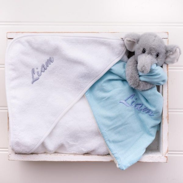 Elephant Comforter & Hooded Towel Baby Gift personalised with the name liam