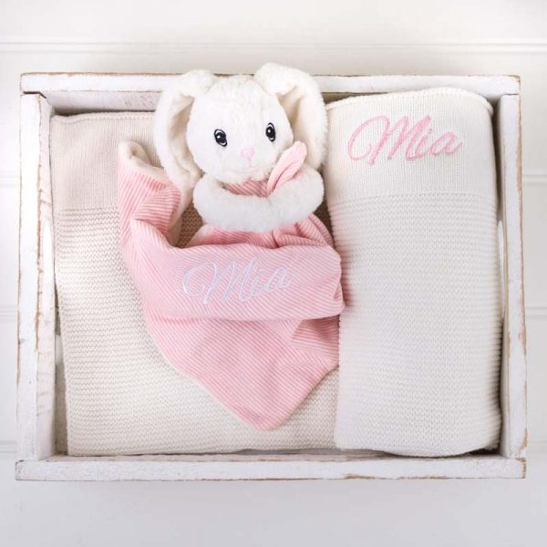 Personalised White Knitted Blanket & Bunny Comforter Baby Gift Box personalised with the name Olivia
