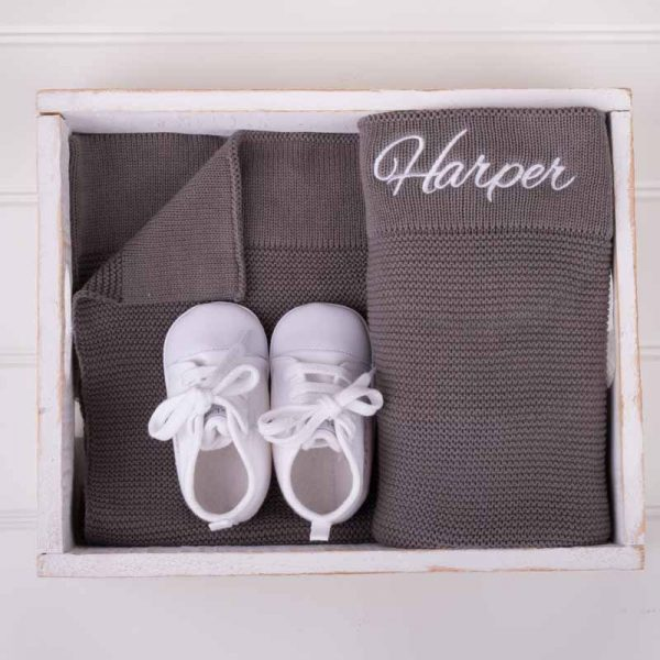 Personalised Olive Green Knitted Blanket & White Shoes Baby Gift Box