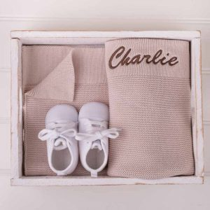 Personalised Beige Knitted Blanket & White Shoes Baby Gift Box embroidered with the name Charlie