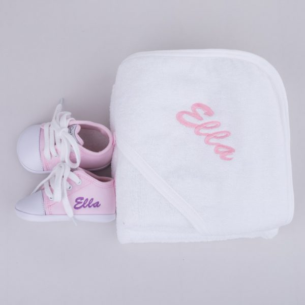 Personalised White Hooded Towel & Pink Shoes Baby Gift Box personalised with the name Ella