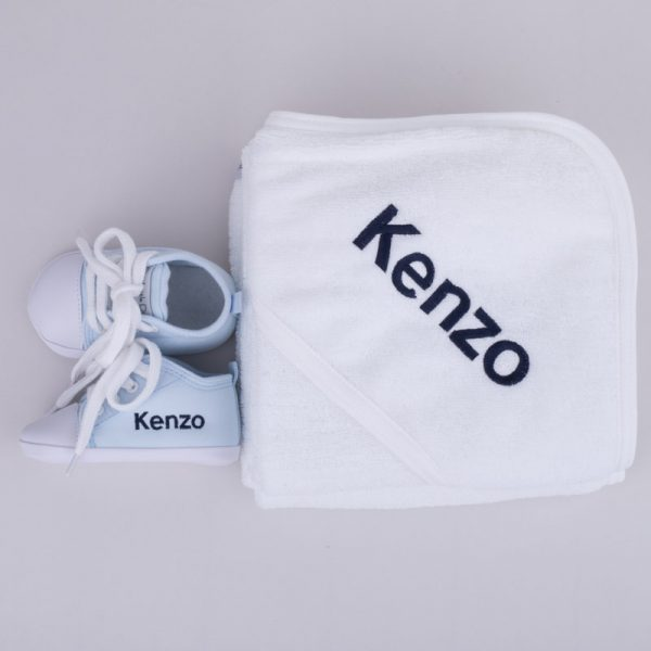 Personalised White Hooded Towel & Blue Shoes Baby Gift Box personalised with the name Kenzo