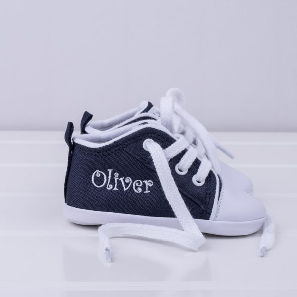 Personalised Navy Blue Baby Shoes