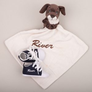 Brown puppy baby comforter & navy blue baby shoes both personalised with the name River