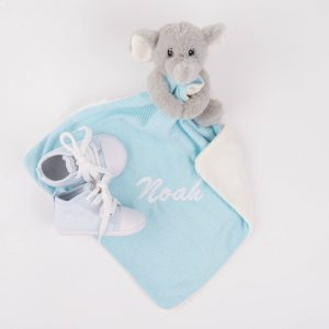 Grey & Blue elephant baby comforter & light blue baby shoes both personalised with the name Kenzo