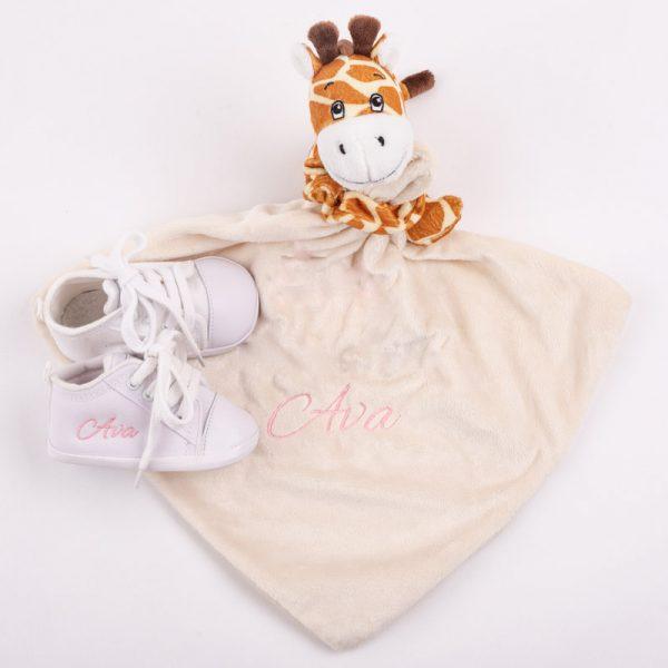Giraffe Comforter & White Shoes Baby Gift Box
