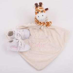 Giraffe Baby Comforter & White Shoes baby's gift set personalised in pink with the name Ava
