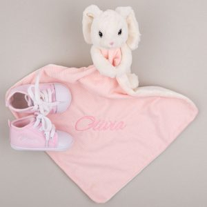 White & pink bunny baby comforter & pink baby shoes both personalised with the name Ella