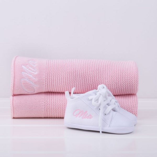 Personalised Pink Knitted Blanket & White Shoes Baby Gift Box