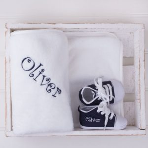 Navy baby shoes & white fleece blanket