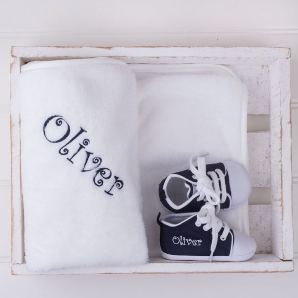 Navy Blue Shoes & Fleece blanket Baby Gift box