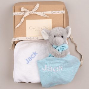 Elephant Comforter & Hooded Towel Baby Gift personalised with the name Jack