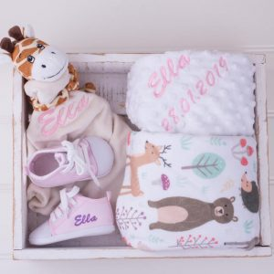 Forest Minky, Giraffe Comforter & Baby Shoes Gift Set