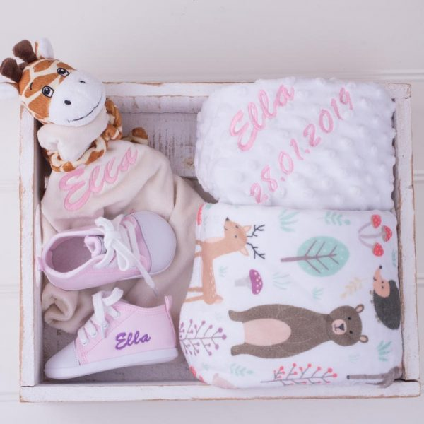 Forest Minky, Giraffe Comforter & Shoes Baby Gift Box
