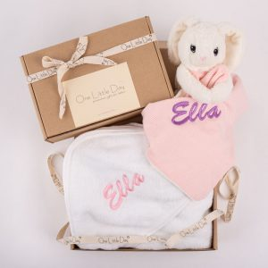 Bunny Comforter & Hooded Towel Baby Gift personalised with the name Ella