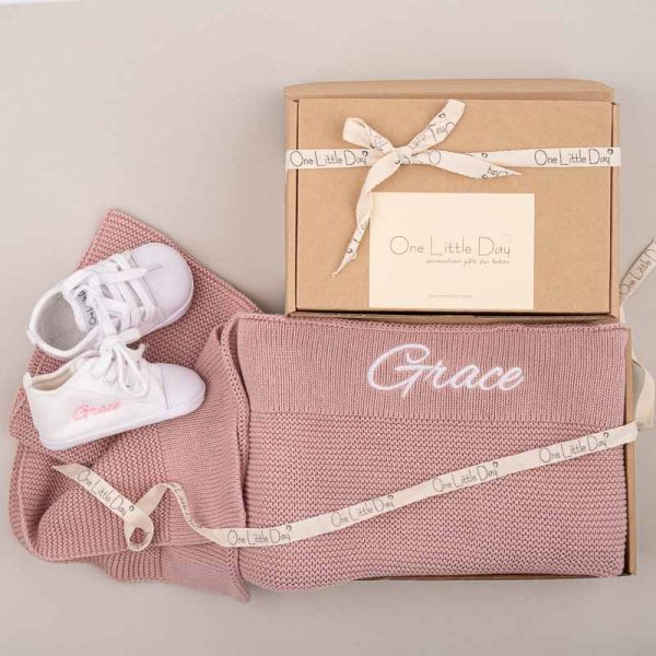 Personalised Blush Pink Knitted Blanket & White Shoes Baby Gift Box