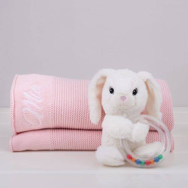 Personalised Pink Knitted Blanket with Mia embroidered & white bunny baby rattle