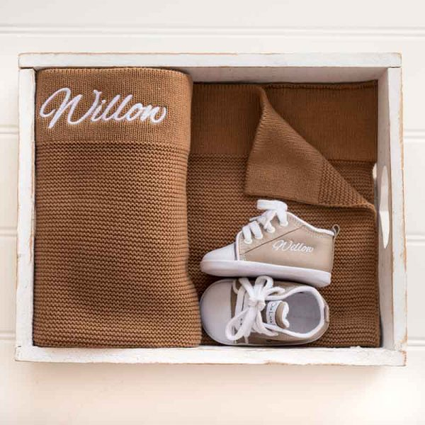 Personalised Brown Knitted Blanket & Shoes Baby Gift personalised with the name Willow