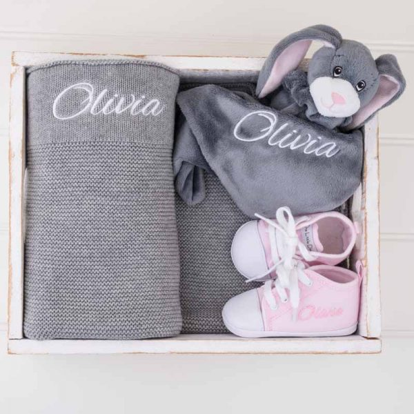 Grey Knitted Blanket, Comforter & Shoes Girl's Baby Gift Box