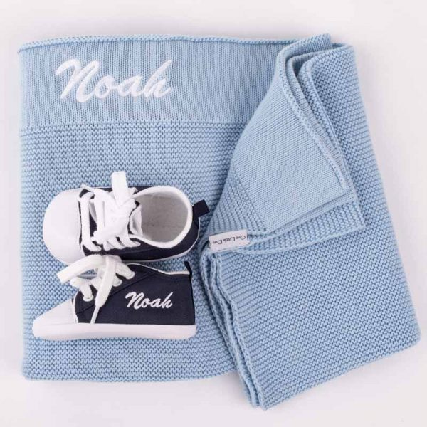 Personalised Blue Knitted Blanket & Navy Shoes Baby Gift Box