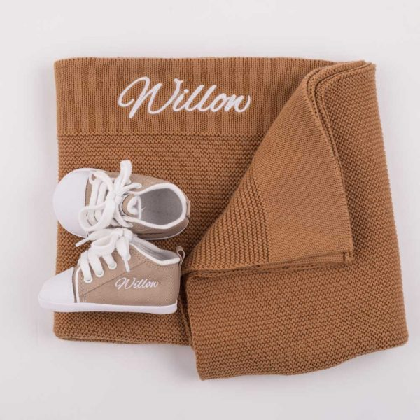 Personalised Brown Knitted Blanket & Shoes Baby Gift Box
