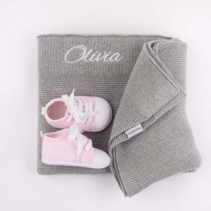 Grey Knitted Blanket, Bunny Comforter & Shoes Baby Gift Box personalised with the name Olivia