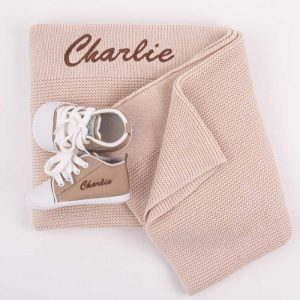 Personalised Beige Knitted Blanket & Sand coloured Shoes Baby Gift Box embroidered with the name Charlie