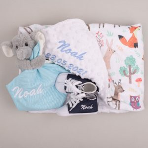 Forest Minky, Elephant Comforter & Shoes Baby Gift embroidered with the name Noah