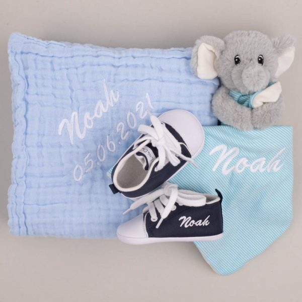Personalised Blue Muslin Blanket, comforter & Navy Shoes personalised with the name Noah with grey background