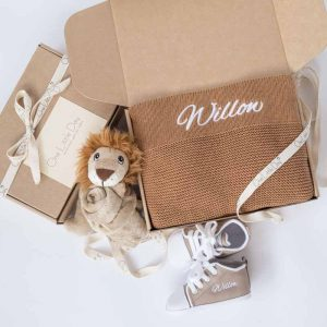 One Little Day gift boxes with brown knitted blanket, lion comforter & baby shoes embroidered with the name Willow