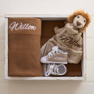 Brown Knitted Blanket, Lion Comforter & baby shoes personalised with the name Willow