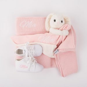 Pink Knitted Blanket, Bunny Comforter & White Baby shoes personalised with the name Mia