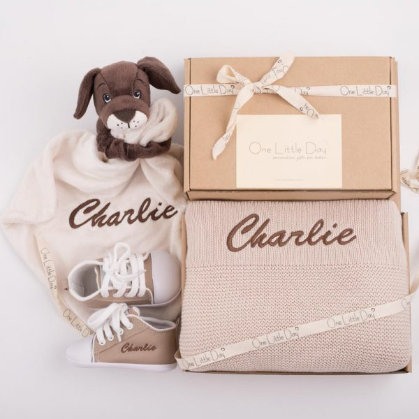 Beige Knitted Blanket, Puppy Comforter & Shoes Baby Gift Box